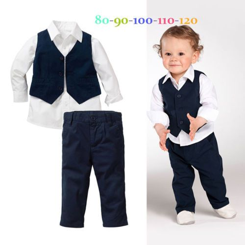 3PCS Toddler Kid Baby Boys Suit Clothes T-Shirt Tops+Vest+Pants Clothes Outfits