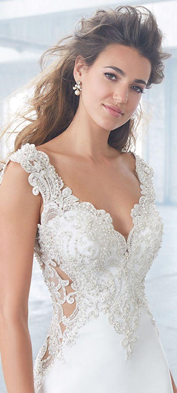 Beaded sheath wedding dress  Marvelous Tulle u Chiffon VNeck Sheath Wedding Dresses With Beaded