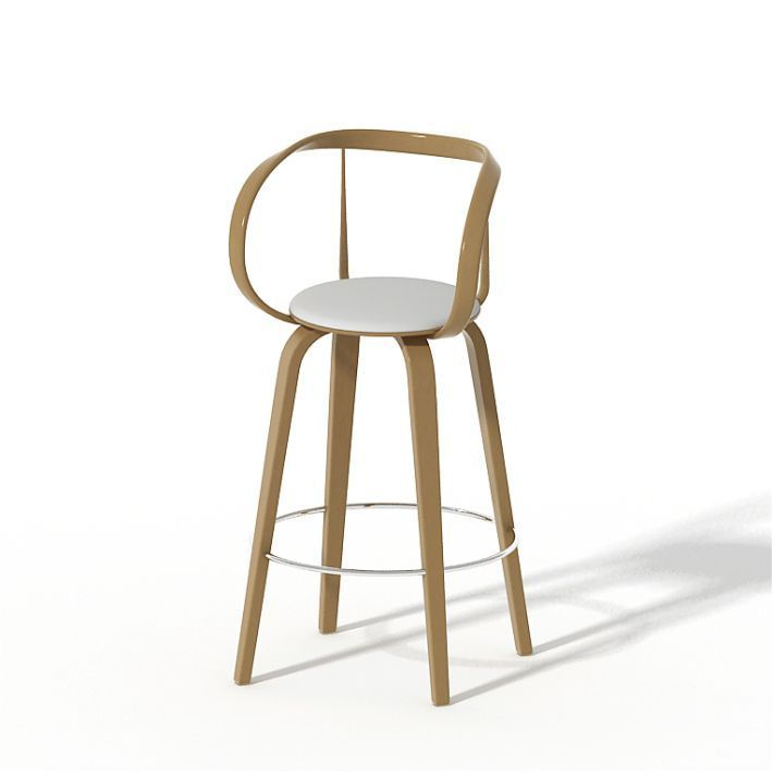 Chaise de bar contemporaine en cuir en bois APRIORI