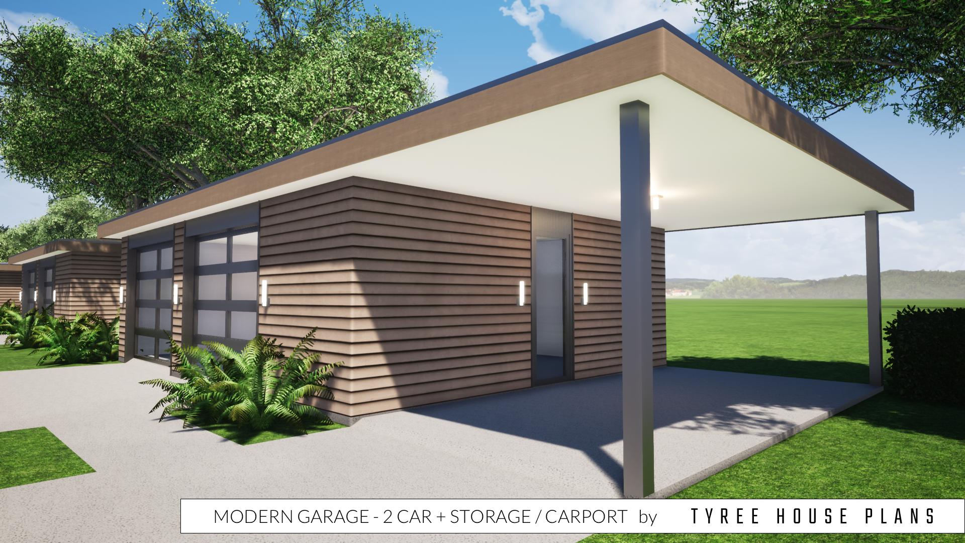 Modern Garage Plan 2 Car Plus Storage and Carport in