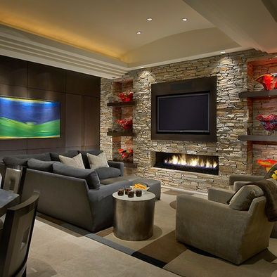 Chic Feature Wall Ideas Living Room With Fireplace Kitchen Makeover Before And Living Room With Fireplace Contemporary Family Rooms Contemporary Fireplace