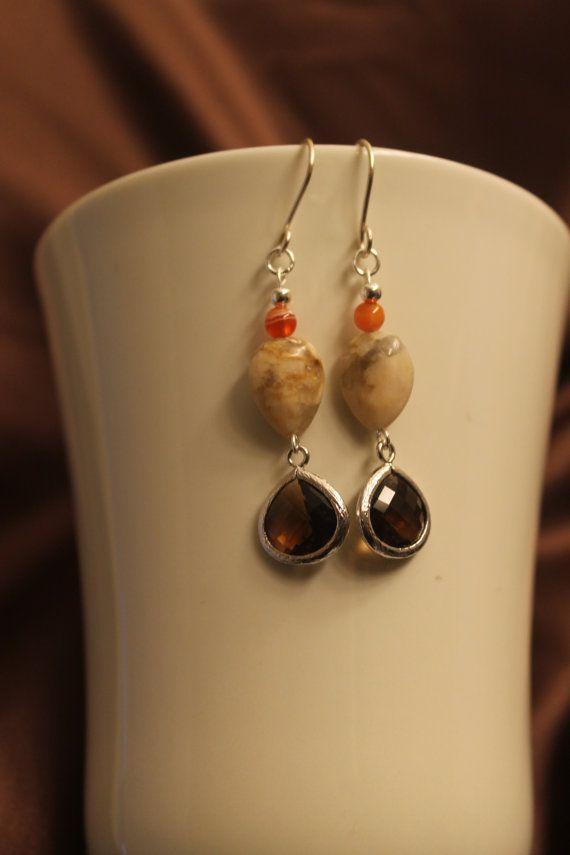 Feldspar and Smoky Quartz Earrings by DragonflyDesignsOD on Etsy