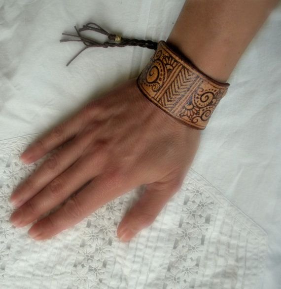 25 Magnificent Henna Cuff Designs For Inspiration: Boho Leather Cuff Pyrographed With Filigree And Chevrons