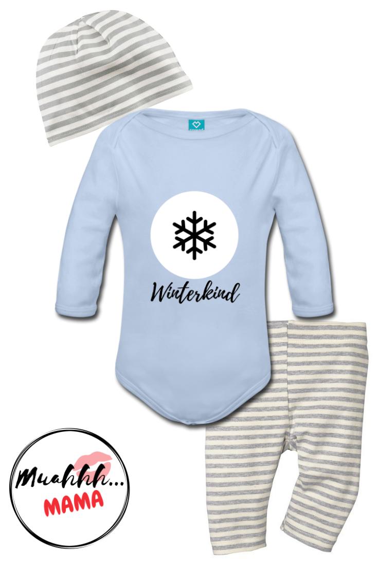 Jahreszeit Winterkind Weiss Baby Bio Langarm Body Muahhh Mama Baby Body Kinder
