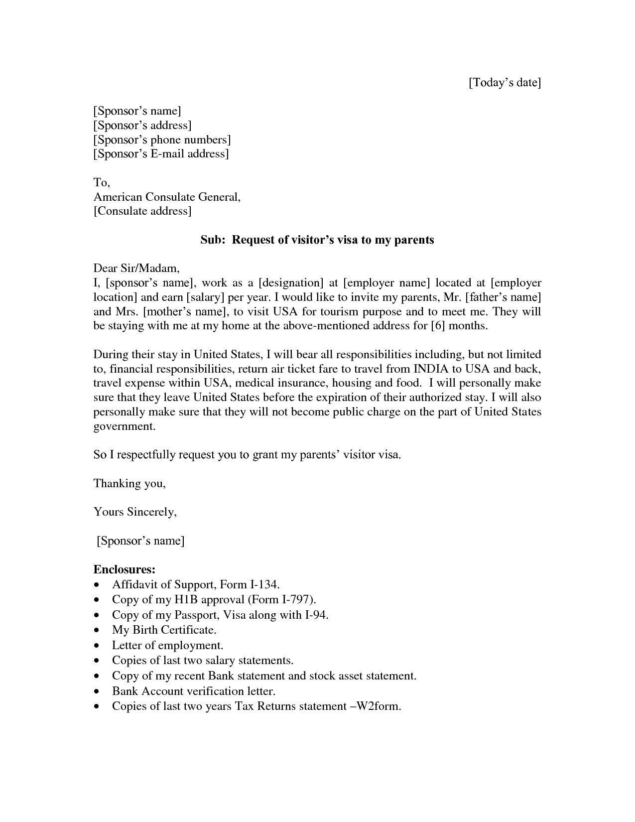 sle invitation letter for visitor visa parents new