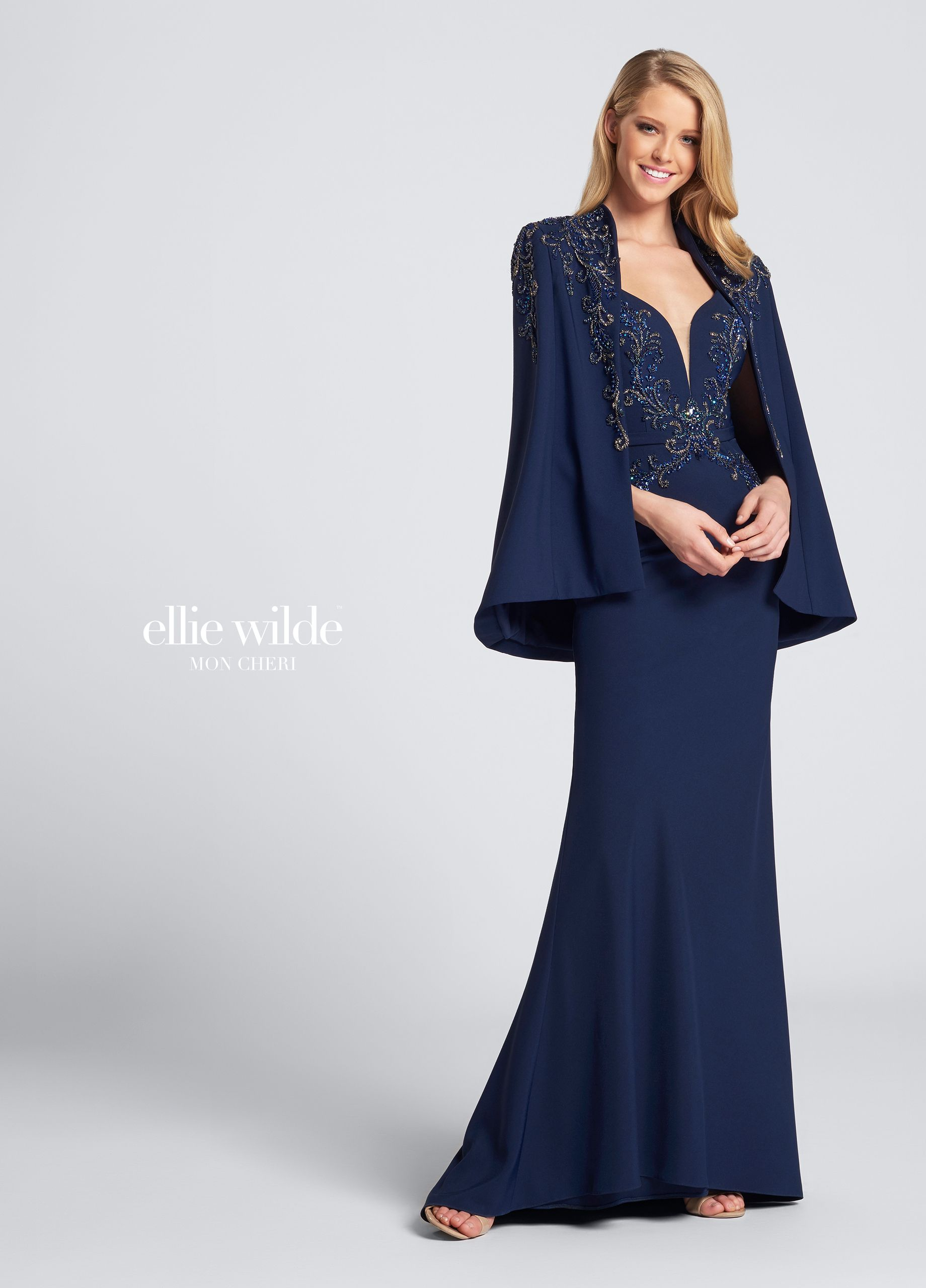 Ellie Wilde EW21720 - Sleeveless beaded evening dress. Two-piece stretch  crepe gown with b7260ee17944