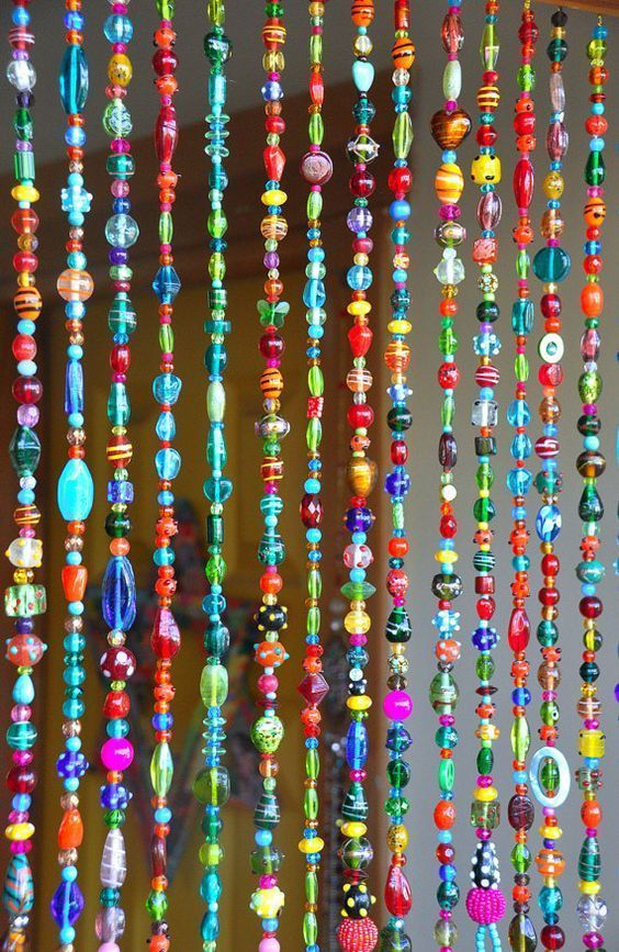 Colorful Bohemian Glass Bead Curtain With Brass Bells Made To Etsy Hanging Door Beads Door Beads Beaded Door Curtains