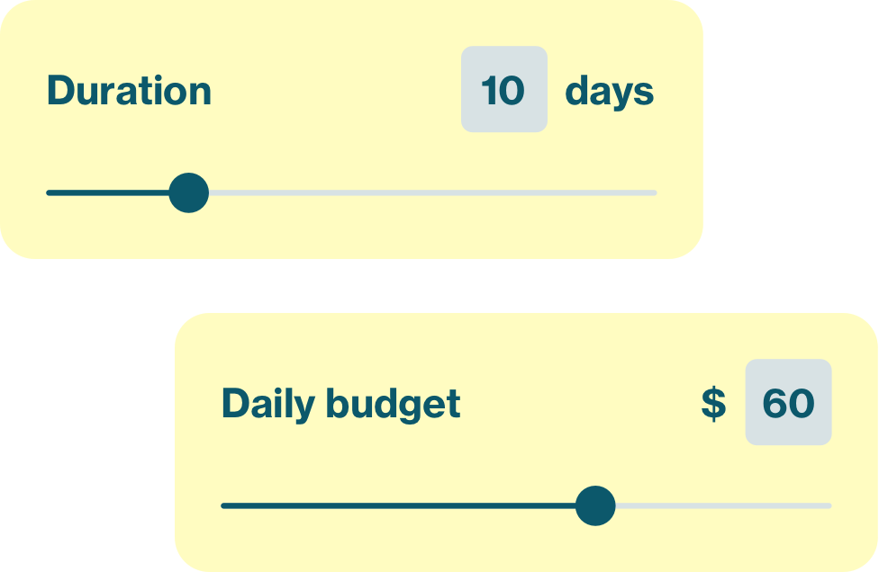 A graphic showing two adjustable scales for days and daily budget