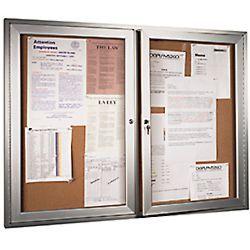 60 X 48 Inch Enclosed Cork Board With 2 Locking Doors Silver Cork Board Boards Display Case