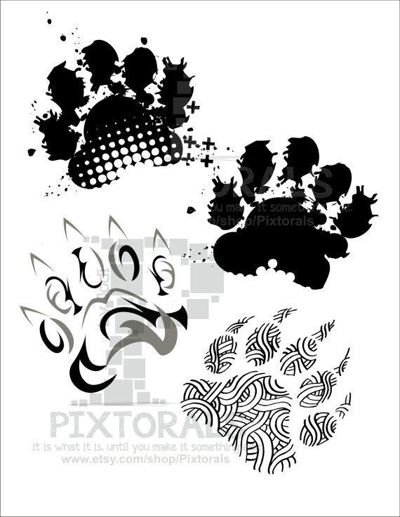 4 Bear Paw Prints Mascot School Mascot Black Bear Grizzly Etsy Bear Paw Print Paw Print Bear Paws