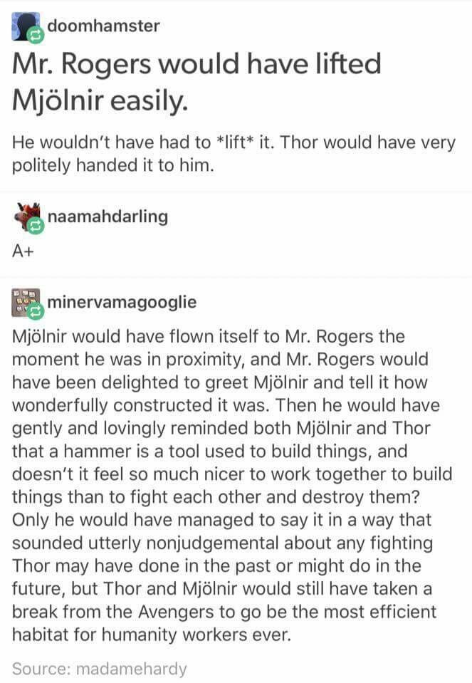 When I First Read This I Thought It Meant Mr Rogers From Mr Rogers Neighborhood Because Yes I M Just Barely Ol Marvel Memes Marvel Movies Marvel Dc Comics