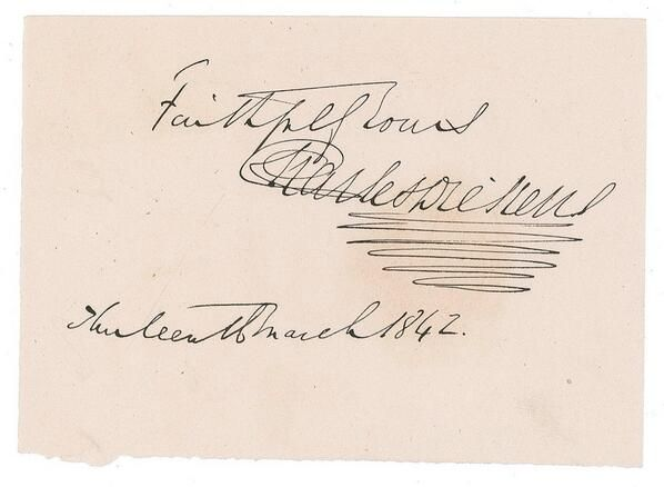Charles Dickens' signature, 1842 - an extravagant flourish drawn underneath a signature like this is called a PARAPH.