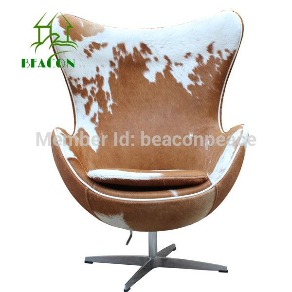 Modern Brown And White COWHIDE EGG CHAIR(China (Mainland))