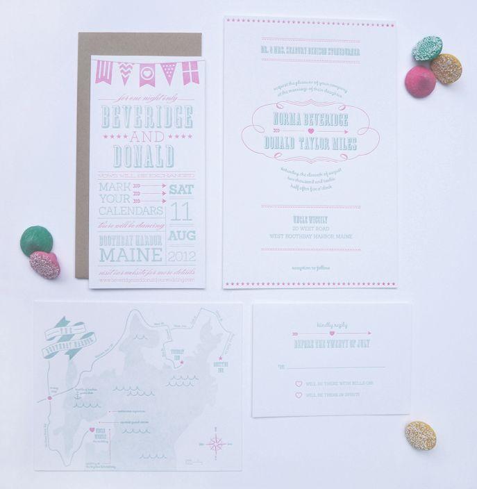 Letterpress Wedding Invite Set