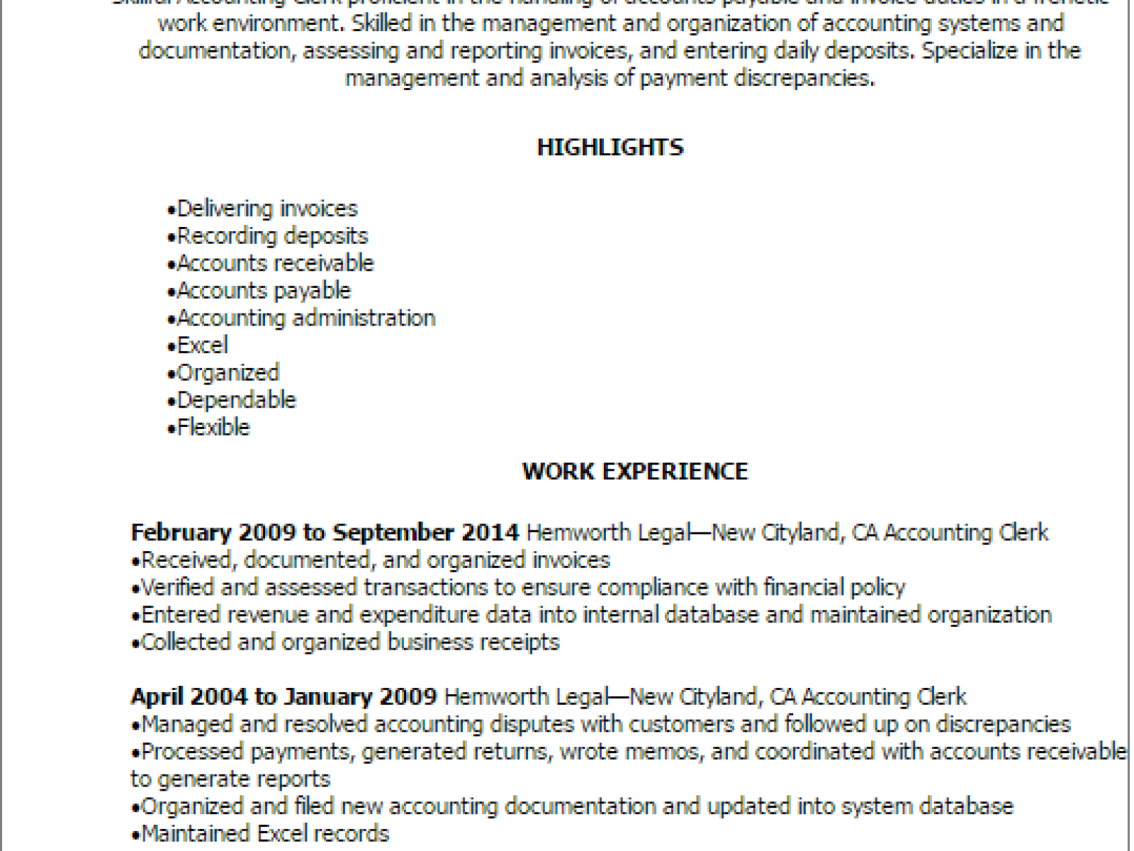General Clerk Objective Resume For Clerical Position Accounting