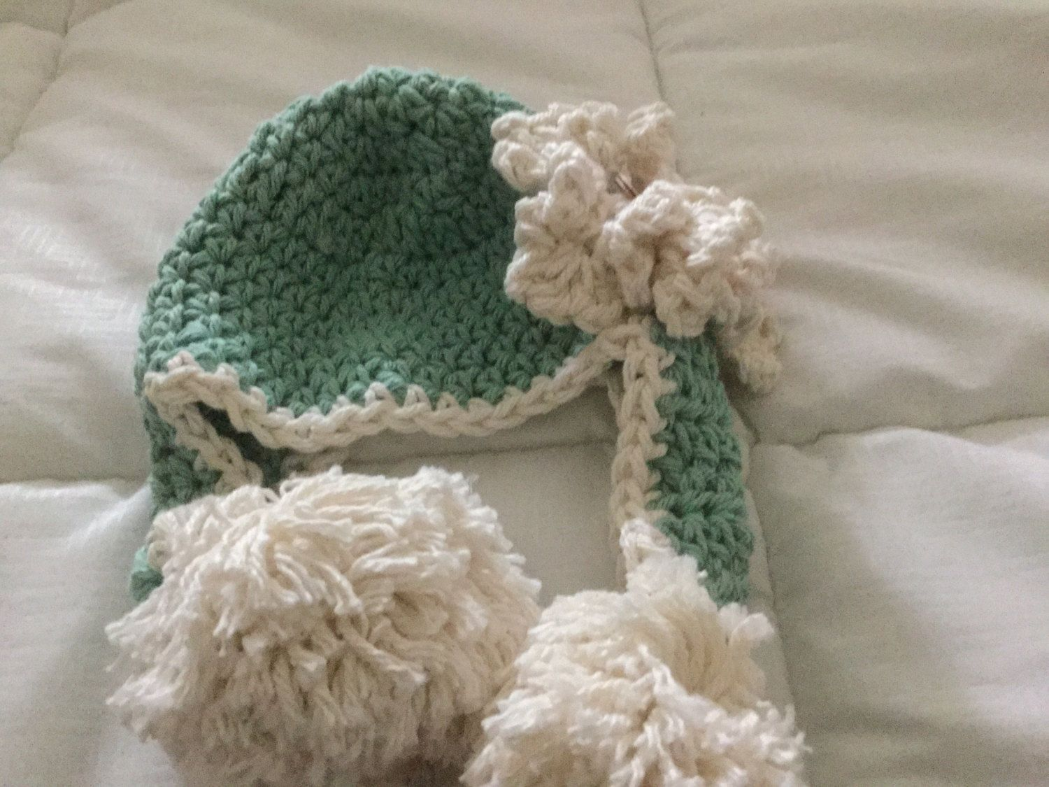 Crocheted ear flap Hat by 374threads on Etsy
