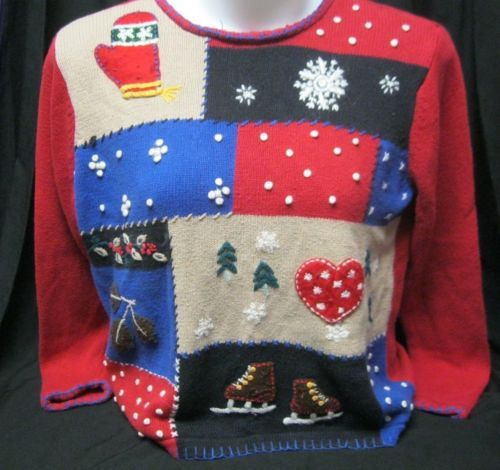 Christmas Sweater sz L Womens Ugly party by Classic Elements Heart snowflakes
