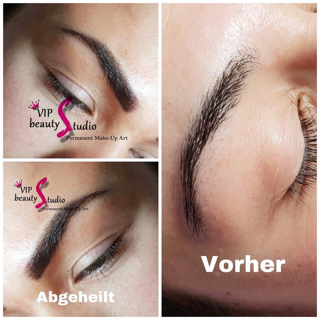 Permanent Make Up Augenbrauen Schattierung Powder Methode Nach Der Behandlung Ist Die P In 2020 Augenbrauenschattierung Permanent Make Up Augenbrauen Augenbrauen
