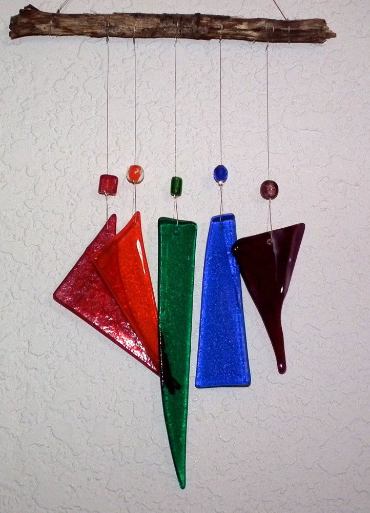 Recycled Stained Glass And Wood Wind Chime