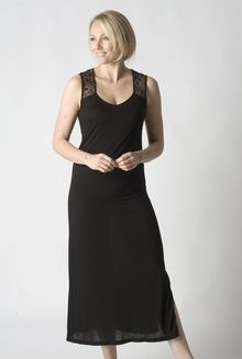 Black long sleeveless modal nightgown with exquisite lace detail ... 0d28cd02d