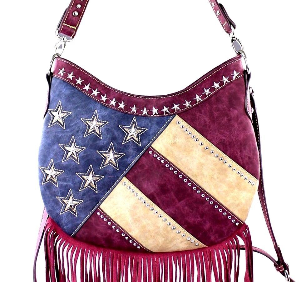 002c78f67 Montana West~American Flag Fringe Hobo Bag/Crossbody Purse~Stripes~Star  Studs~RD #MontanaWest #HoboCrossBodyBag