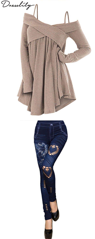 Cold Shoulder Crisscross Tunic Sweater u Hole Heart Flower Print