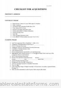 Sample Printable Checklist For Acquisitions  Form  Sample Real