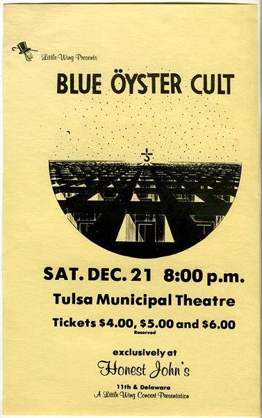 1974 blue oyster cult tulsa concert handbill music from my past musica o dos. Black Bedroom Furniture Sets. Home Design Ideas