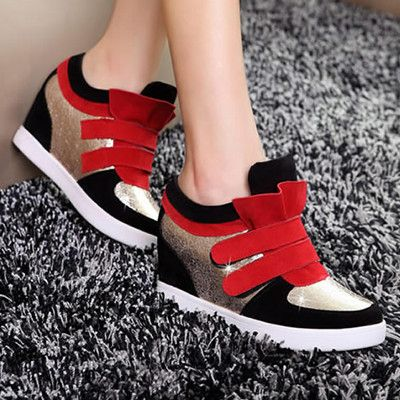 womens red vintage fashion high top sneakers  casual