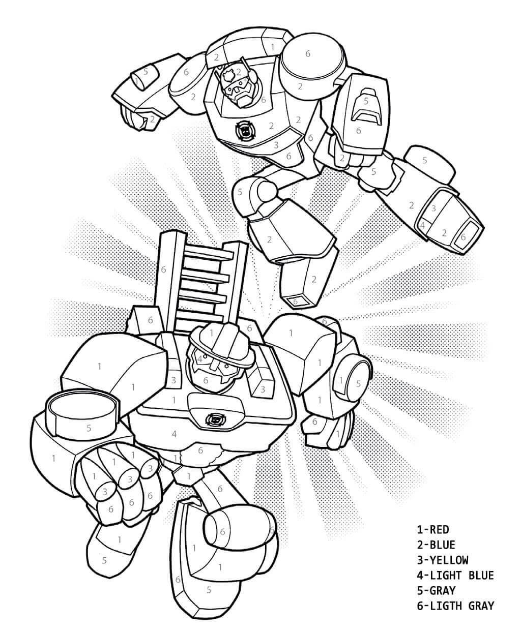 Transformers rescue bots color by numbers activity sheet rescue