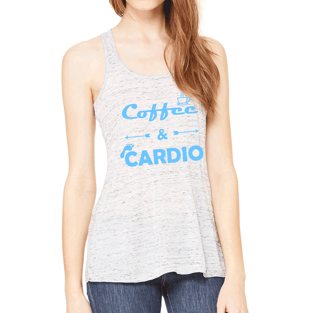 ba648ad355aca Coffee   Cardio Womens Flowy Workout Tank Top. Fitness Motivation. Running  Tank Top. Gift for Runner.