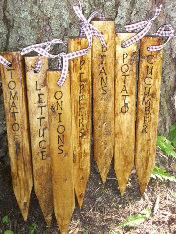Handmade Garden Stakes Wooden Garden Markers Rustic Primitive Made To Order