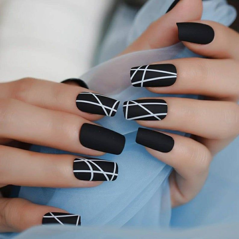 24 Square Matte Black white Nails with white desig