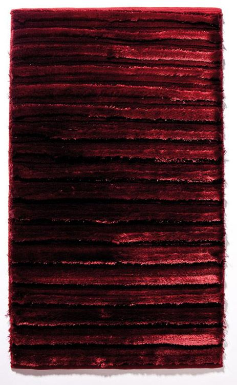 Handgewebter Badteppich In Bordeaux Aus Mischgewebe, Rutschhemmend Durch  Sprüh Latexierung An Der Unterseite.