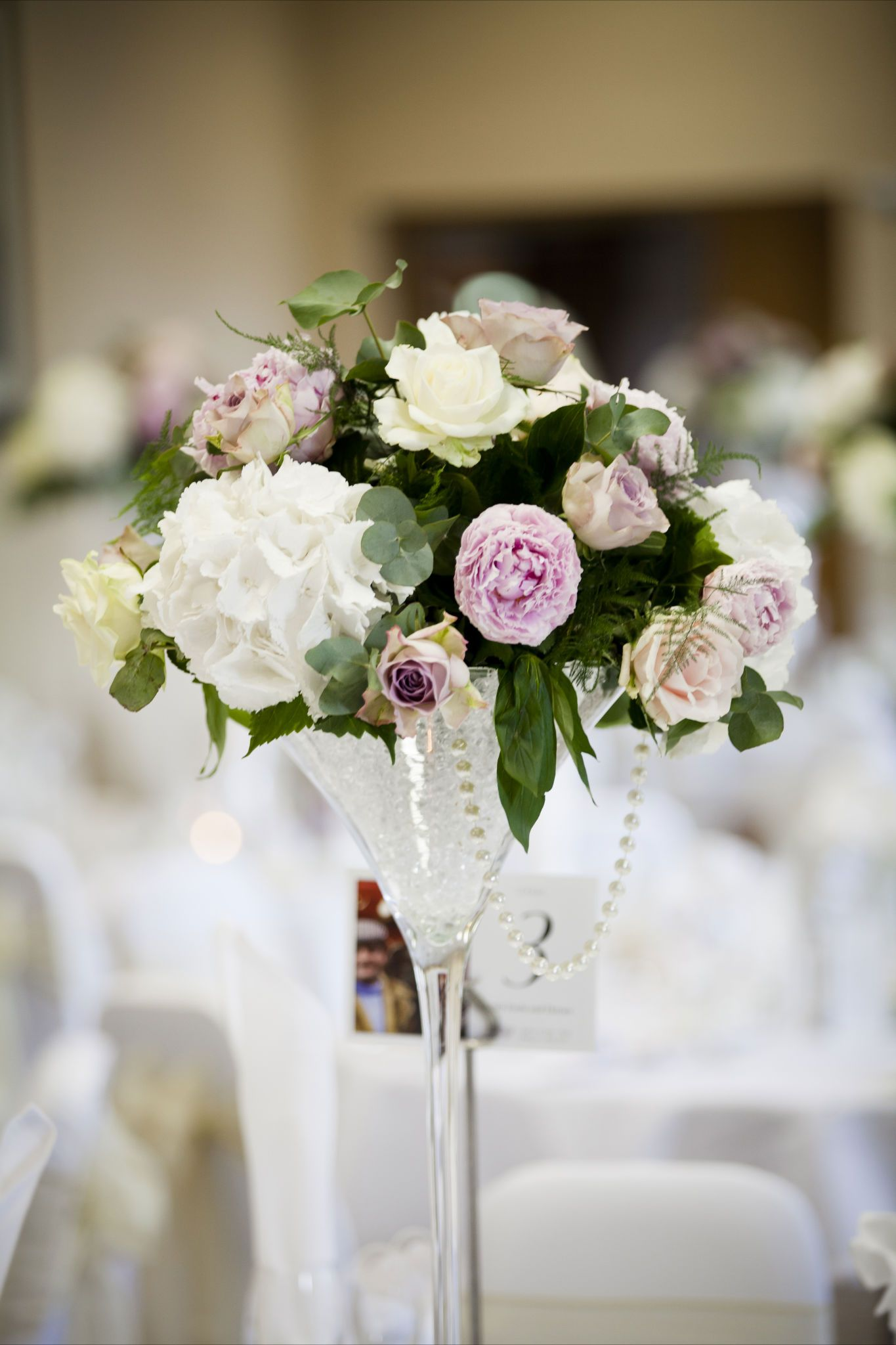 Ivory and pink Hydrangeas Roses and Peonies martini vase centre