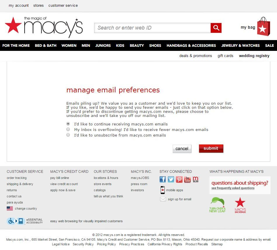 Macy S Email Preference Management Email Preference Center