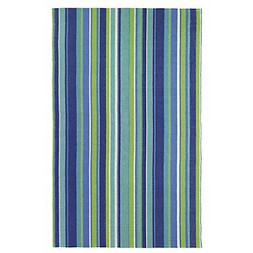 A Perfect Summer Rug Woven With Cool Stripes And Even Cooler Shades Of Blue Bonus The Yarns Are Made From Recycled Plastic Bottles So This Flatweave Is