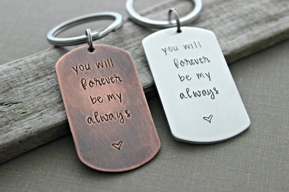 You Will Forever Be My Always Dog Tag Keychain Gift For Him