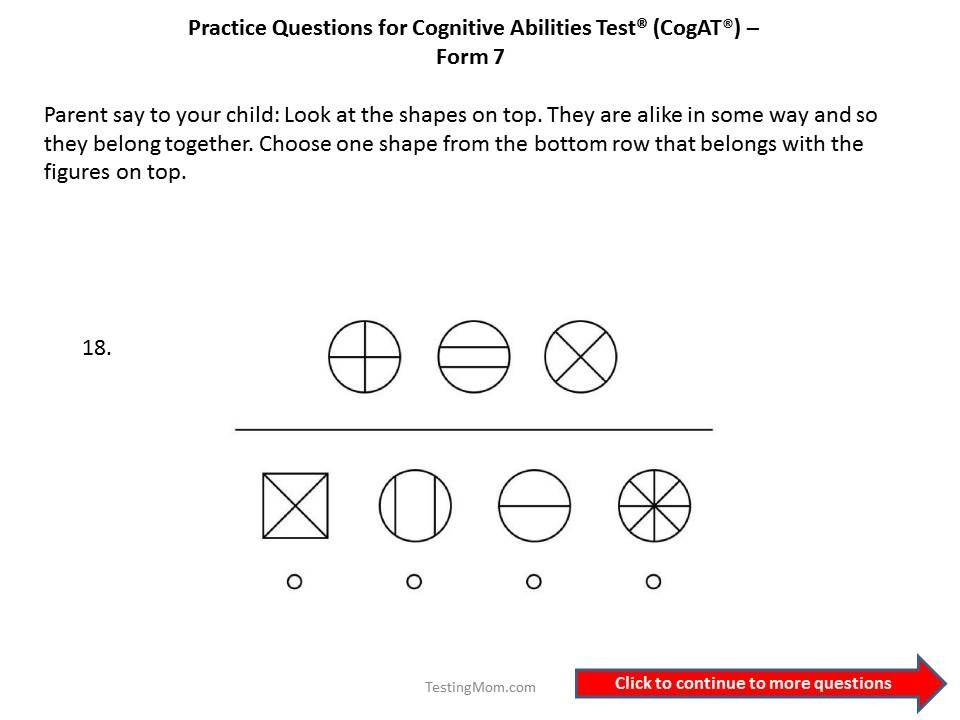 CogAT Form 7 practice questions for 1st to 2nd grade. | Cognitive ...