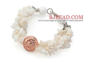 Fashion White Series White Shell Chips and White Sea Shell Bracelet with Golden Rose  Ball Free Shipping