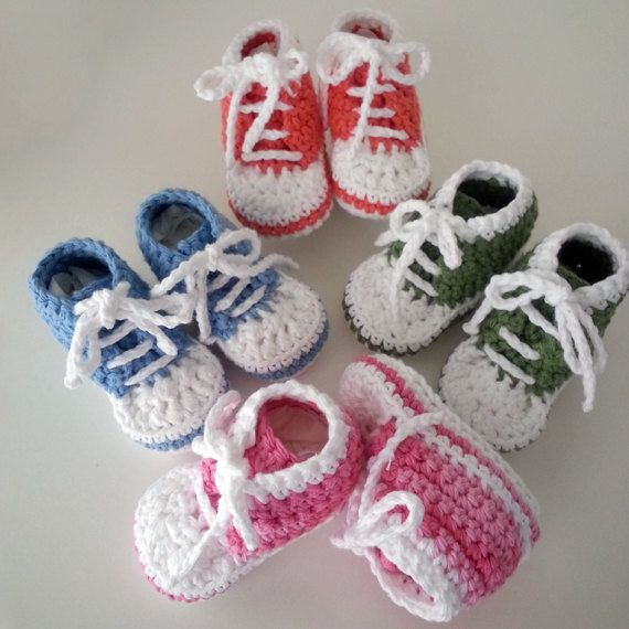 Crochet baby sneakers. Baby converse shoes. 100% USA by LilCuddles ...