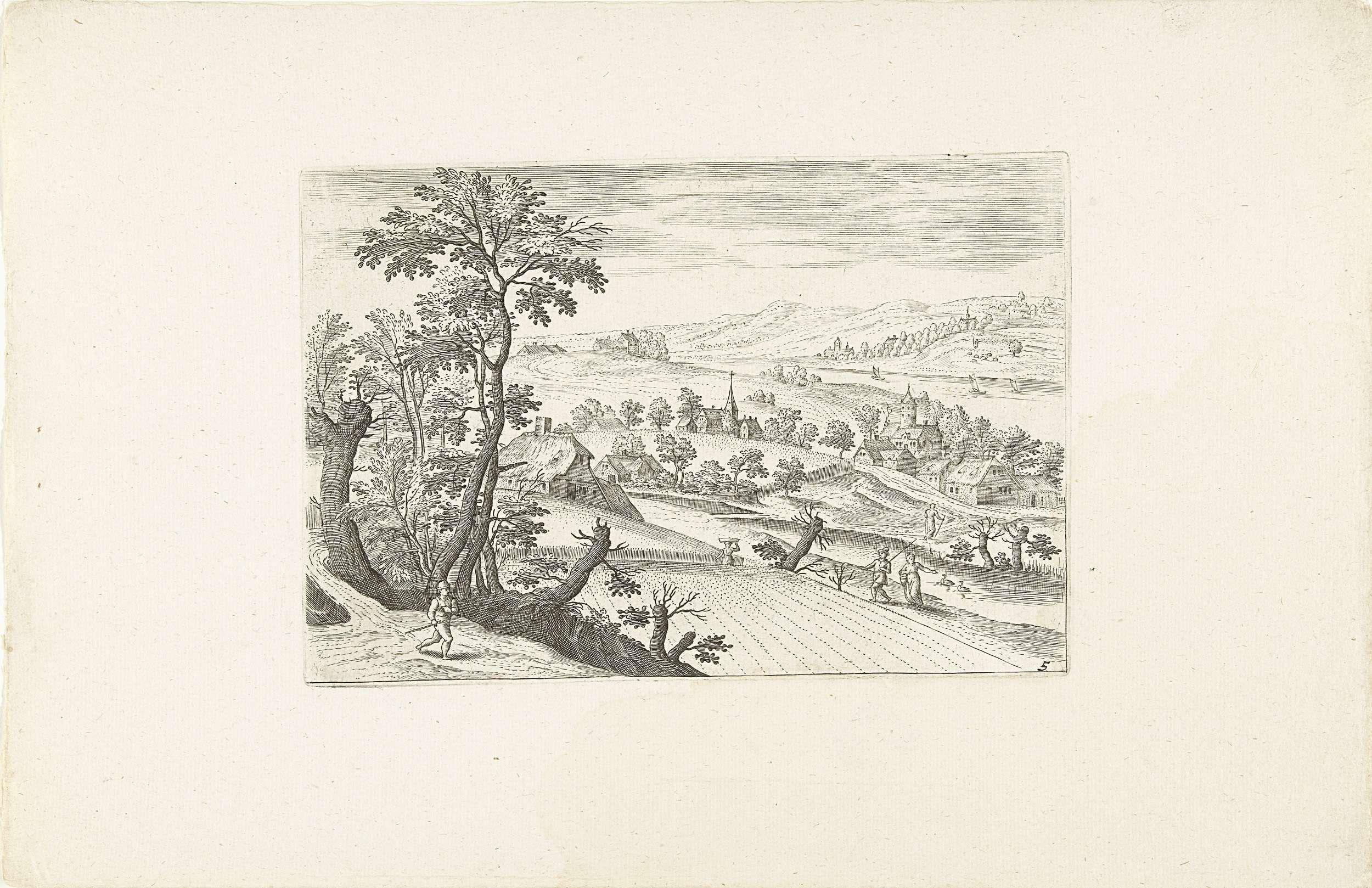 Adriaen Collaert | Landschap met een korenveld, Adriaen Collaert, Jacob Grimmer, Claes Jansz. Visscher (II), 1578 - 1618 | Landschap een korenveld en een boerderij. In de verte een dorpje. De prent is deel van een twaalfdelige serie met landschappen rond Antwerpen.