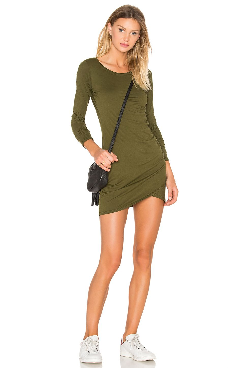 Supreme jersey long sleeve ruched mini dress chartreuse bobi