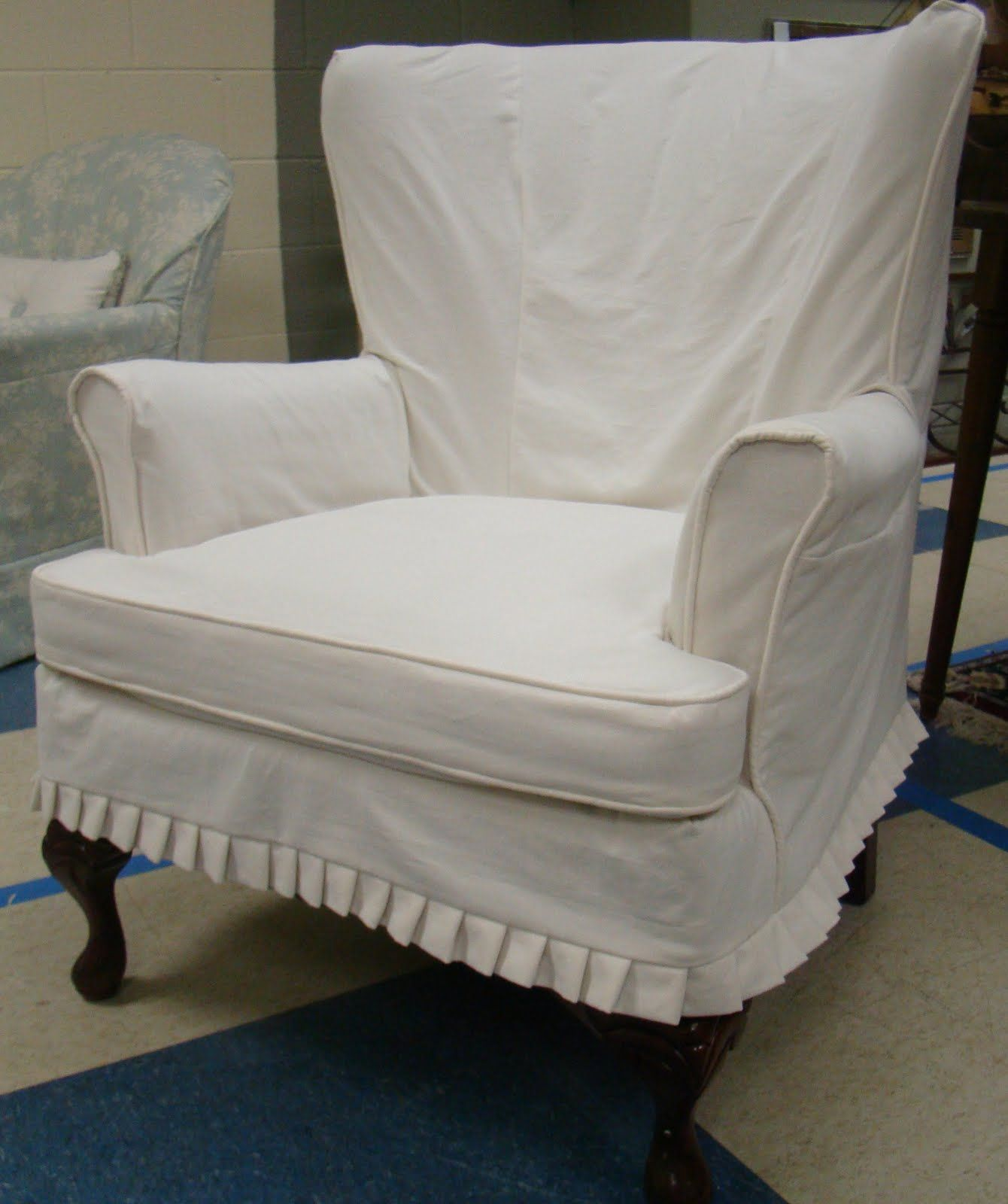 Wingback Chair Slipcover Square Cushion