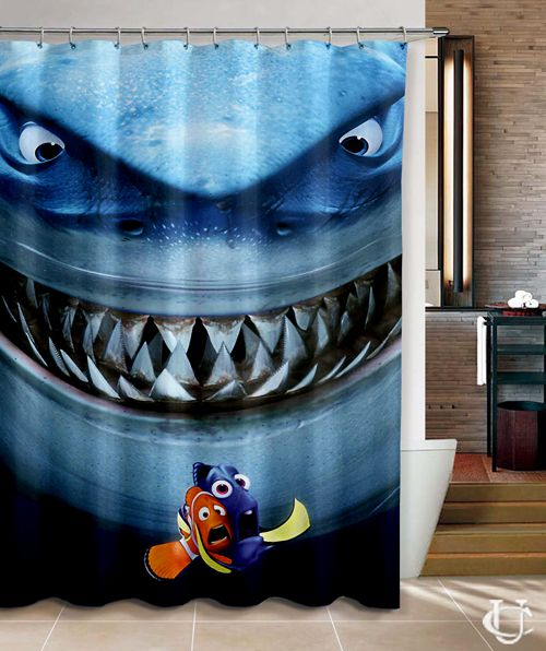Finding Nemo And Shark Bruce Pixar Shower Curtain Cute Shower