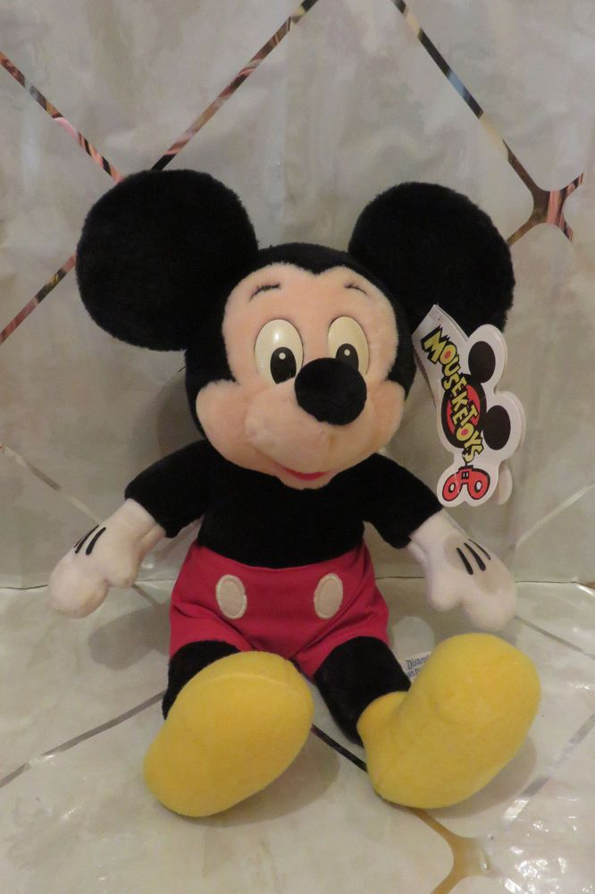 "Vintage Disneyland Disney World Mickey Mouse 14"" Plush Doll Mouseketoys w/Tags"
