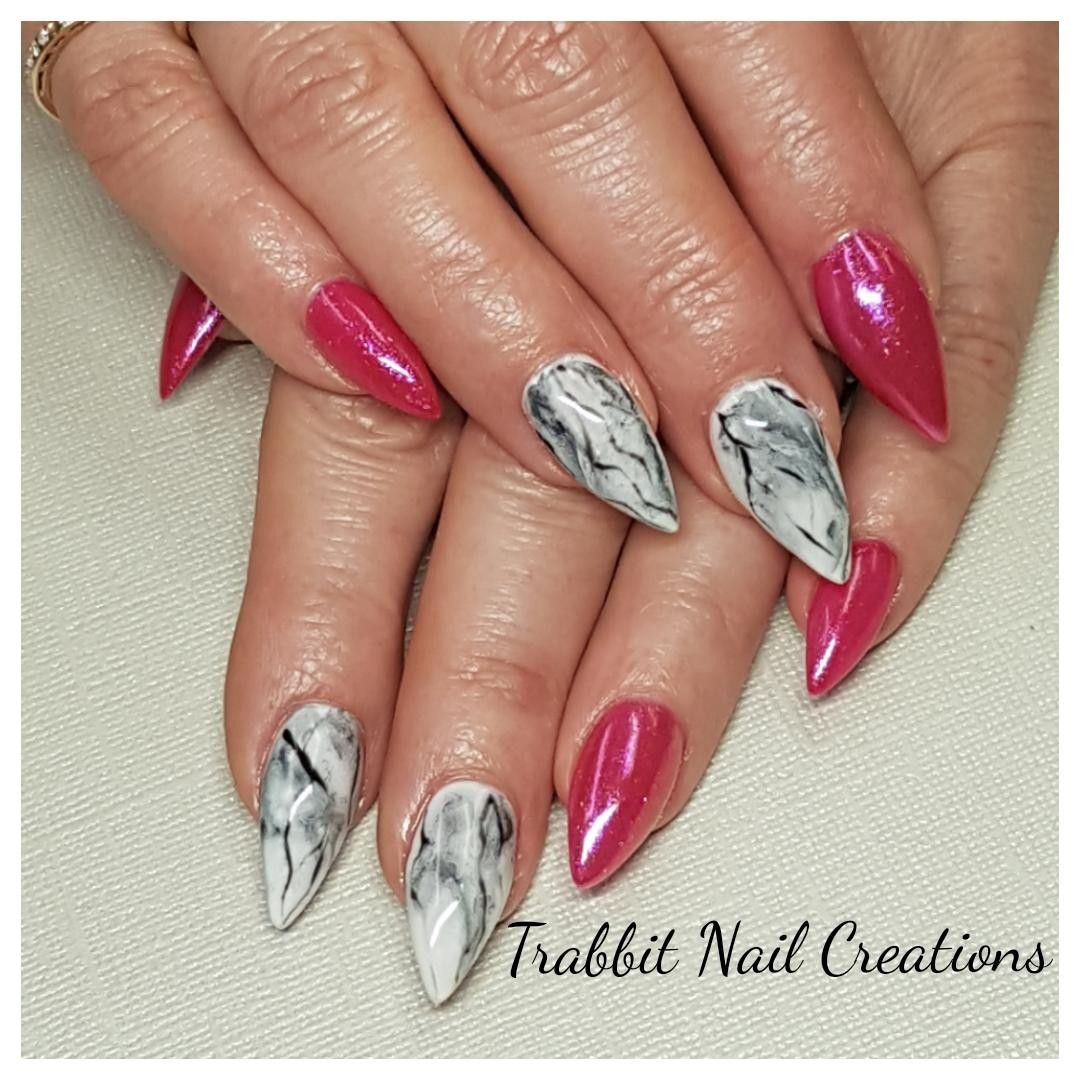 Pointy Pink With Black And White Marble Gel Nails Trabbit Nail