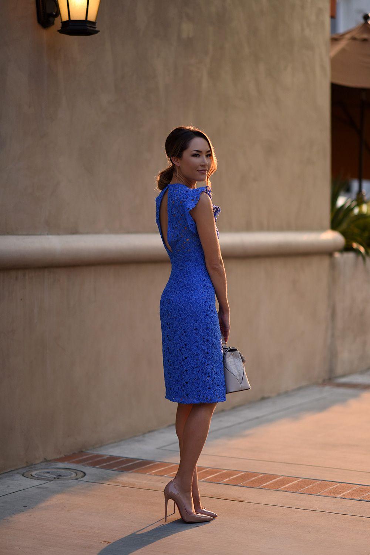 kobalt blauwe kanten jurk