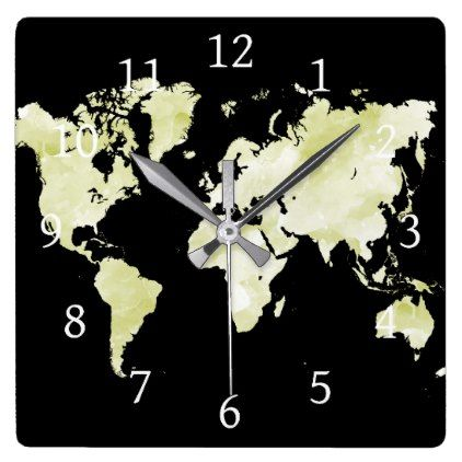 Design 73 black green world map square wall clock home gifts ideas design 73 black green world map square wall clock home gifts ideas decor special unique gumiabroncs Gallery