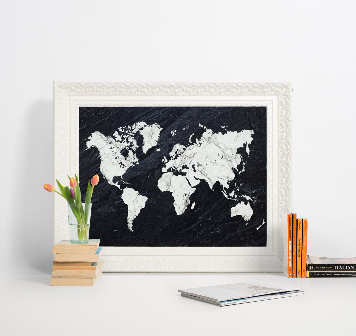 Printable world map poster marble print black and white marble printable world map poster marble print black and white marble art world map gumiabroncs Gallery
